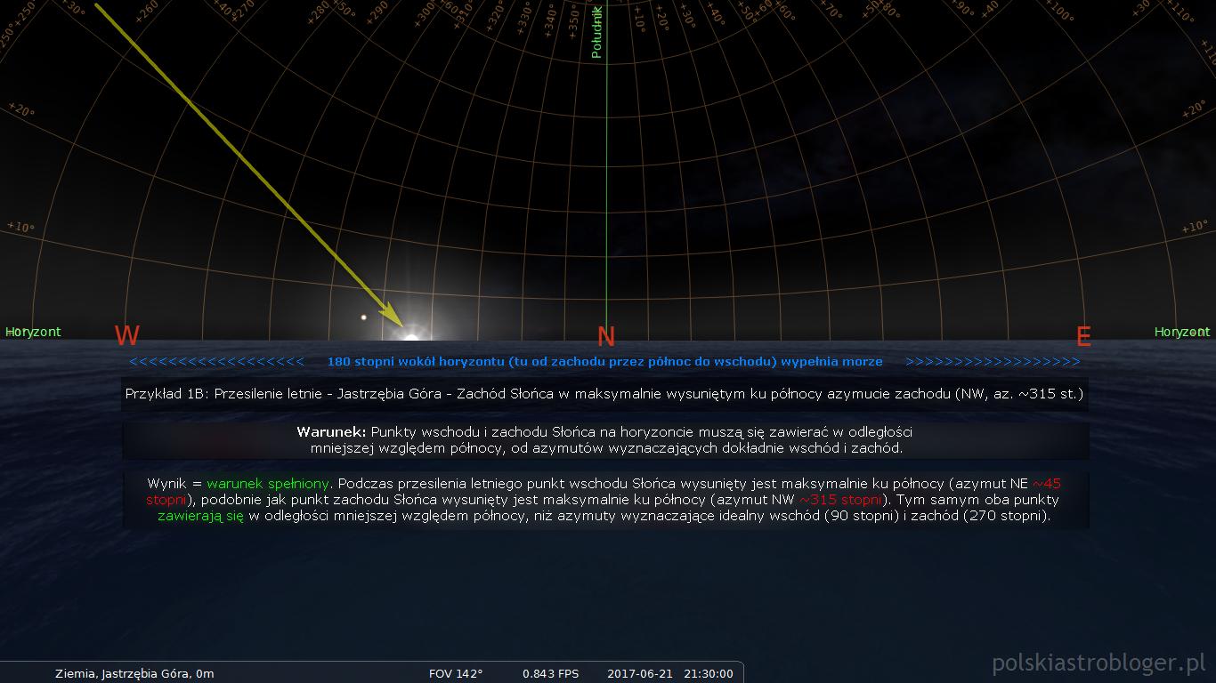 Symulacja nr 7. Przykład 1, część B - Zachód Słońca w przesilenie letnie na przykładzie Jastrzębiej Góry