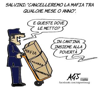 Salvini, governo del cambiamento, mafia, camorra, ndrangheta, proclami, vignetta, satira
