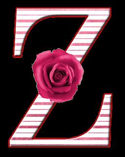 Abecedario con Flores Rosadas. Alphabet with Pink Flowers.