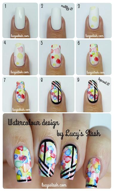 Lucy's Stash: Watercolour/aquarelle nail art tutorial