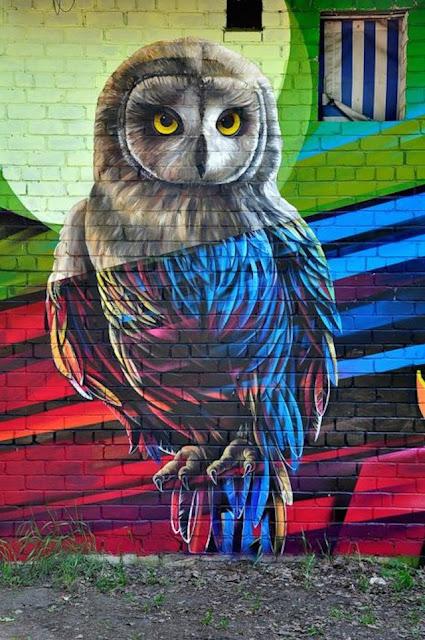 Grafiti Terbaik 2015 - Burung Hantu, lukisan burung Hantu