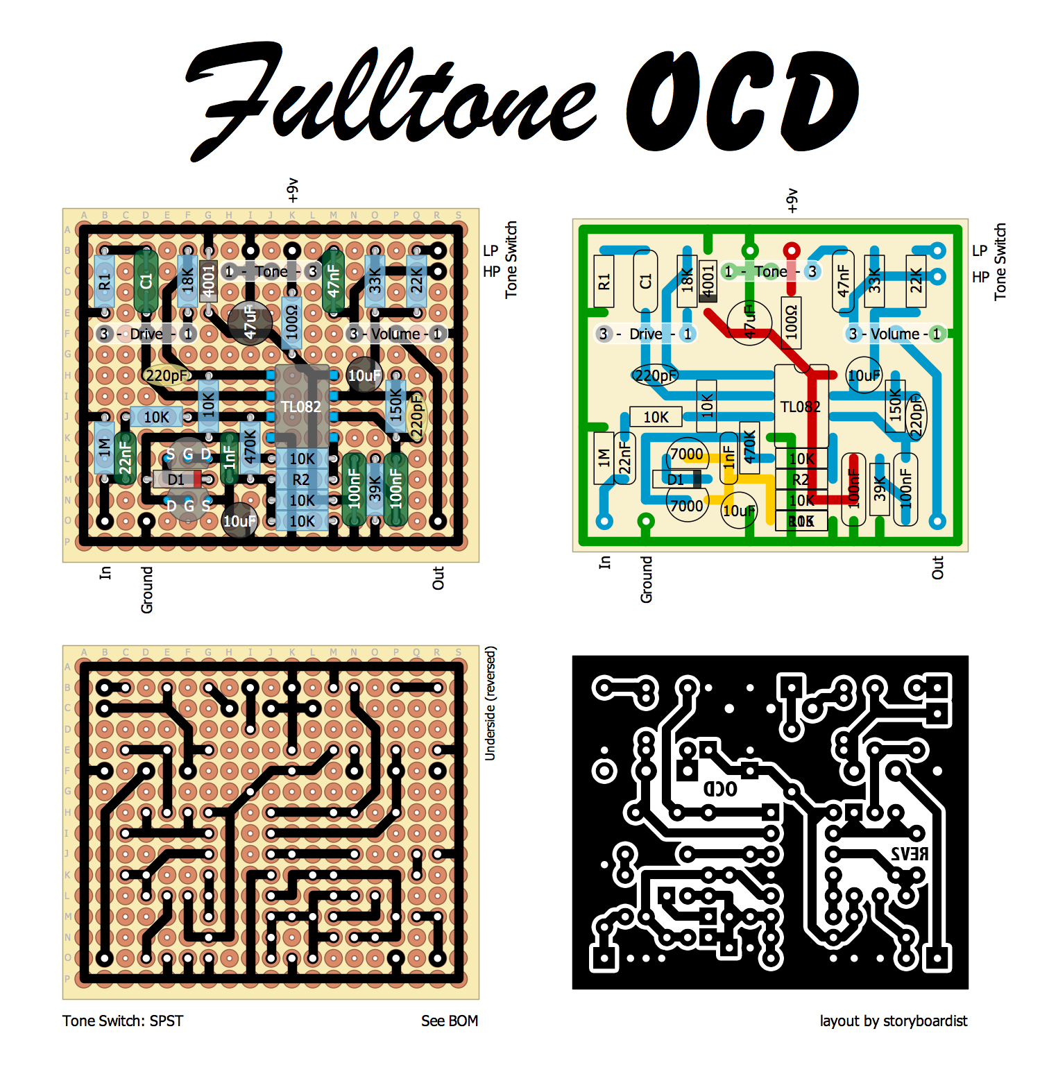 Perf and PCB Effects Layouts: Fulltone OCD Fulltone Ocd Schematic on lovepedal eternity schematic, menatone red snapper schematic, dunlop wah schematic, guitar schematic, pignose schematic, reverb pedal schematic, rockbox boiling point schematic, parametric eq schematic, tube screamer schematic, volume pedal schematic, ac booster schematic, mad professor deep blue delay schematic, mxr micro amp schematic, boss dd3 schematic, proco rat schematic, rc booster schematic, boss tu-2 schematic, klon centaur schematic, timmy schematic, univibe schematic,