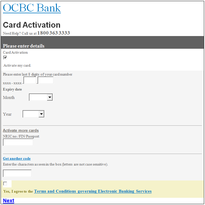 ocbc credit card overseas activation