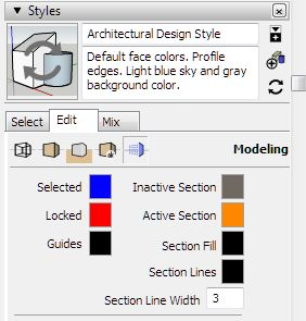 Review section color SketchUp Pro 2018 - ncep tutorial