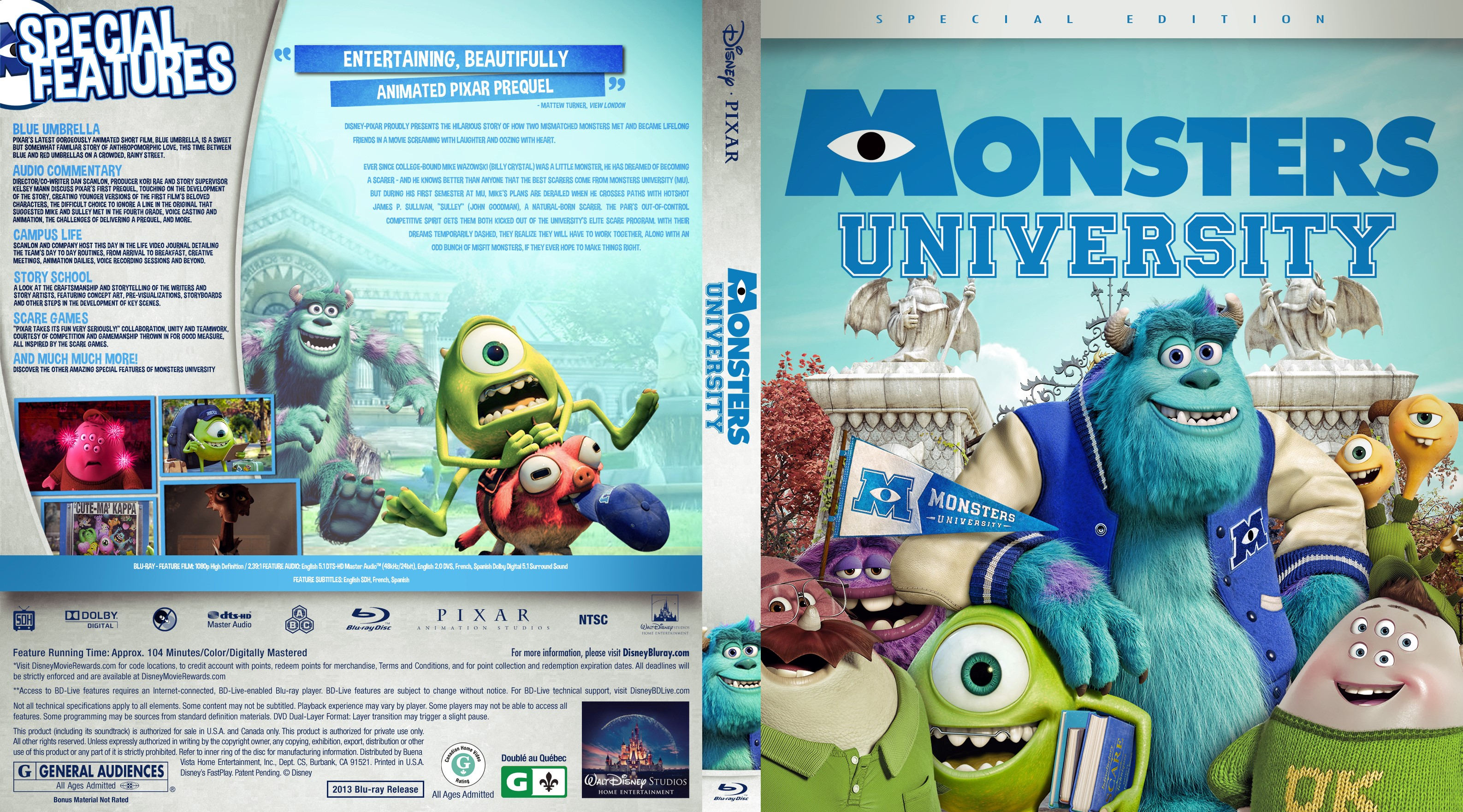 Monsters University Bluray Cover | Cover Addict - Free DVD ...