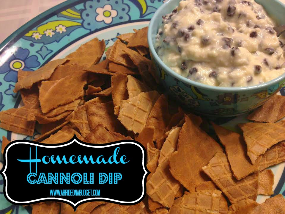 This homemade cannoli dip is sure to be your new favorite! Get the recipe at www.abrideonabudget..com.