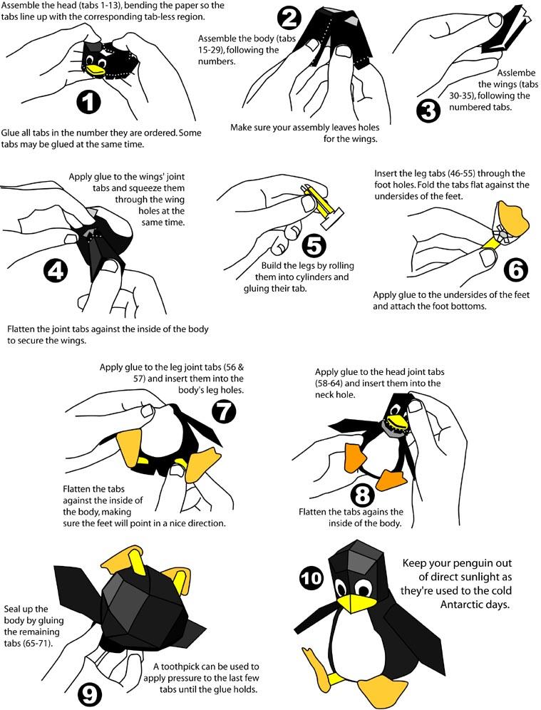 Papercraft Instruction Tux Linux Penguin Web Wanderers