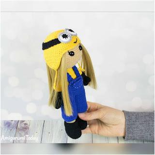patron amigurumi muñeca disfrazada de minion amigurumi today