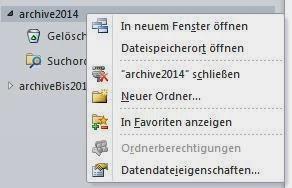 einzelne ordner archivieren outlook