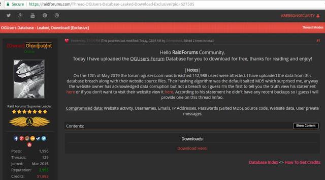 Fórum de invasão de conta OGusers hackeado