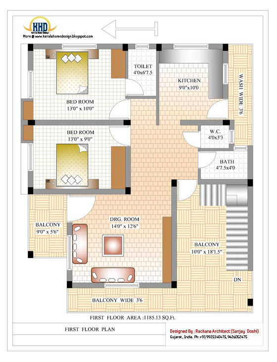 First floor house plan - 2370 Sq.Ft.