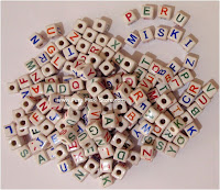 Cube ceramic beads with letters - alphabet
