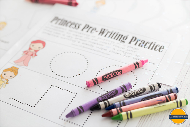 toddler, preschool, prek pre writing practice with princess worksheets for kids