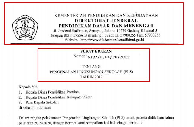 gambar surat edaran pengenalan lingkungan sekolah 2019