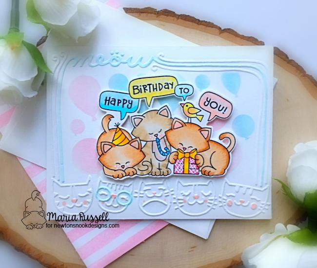 Cat Birthday Card by Maria Russell | Newton's Birthday Trio Stamp Set and Balloons Stencil by Newton's Nook Designs #newtonsnook