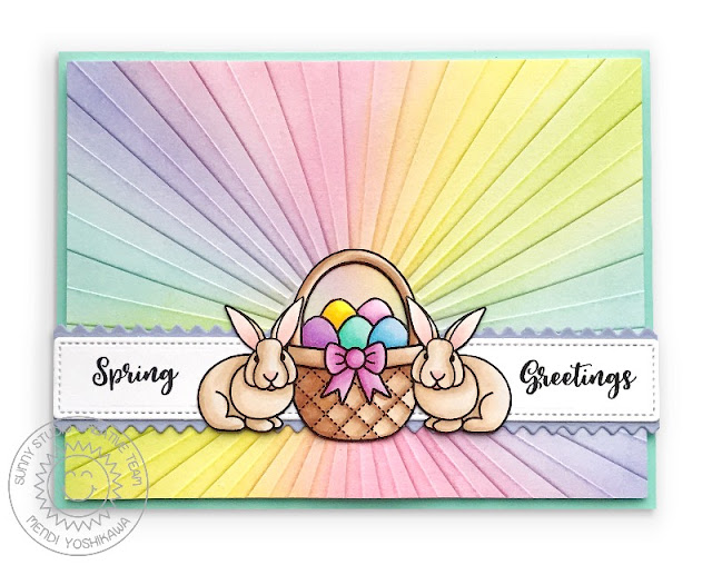 Sunny Studio Stamps: Spring Greetings Sun Ray Easter Bunny Card (using Sunburst Embossing Folder & A Good Egg Stamps)