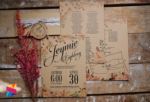 Jeymie debut rustic invitation stunro creativeworks labels 18th birthday invitation debut debut invitation floral themed invitation kraft paper rustic invitation stopboris Gallery