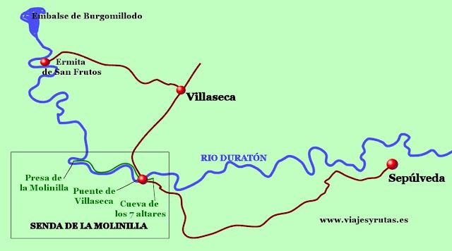 Mapa de la senda de la Molinilla, Segovia