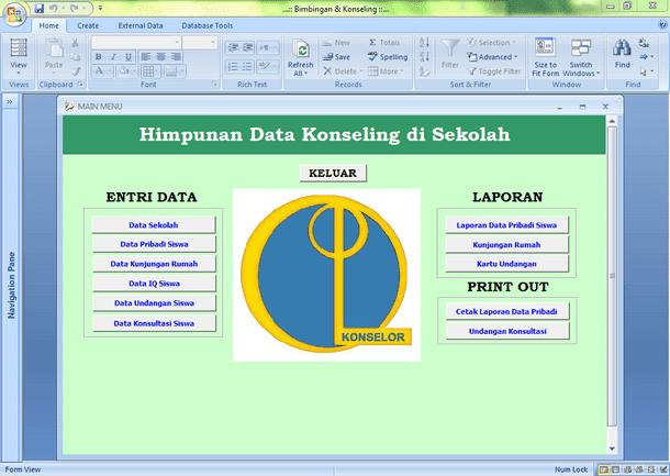 Aplikasi Guru BK (Bimbingan dan Konseling) untuk SMP SMA SD Format Microsoft Access