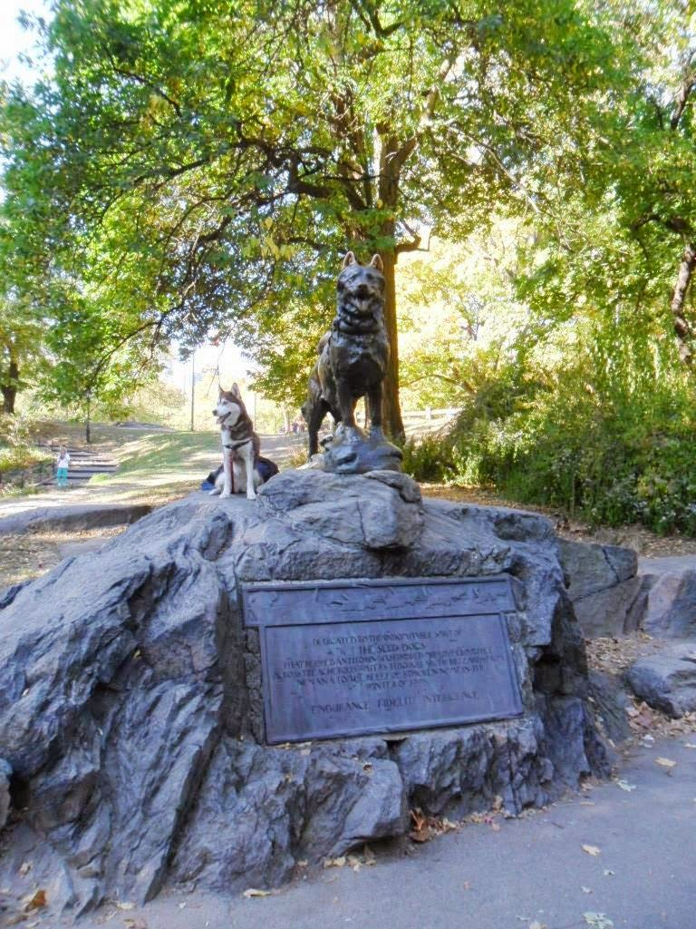 Beautiful Statue of Balto, the most famous sled dog stands in Central Park, not far from the Central Park Zoo.  Dog Friendly Central Park
