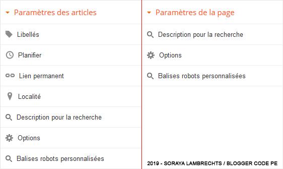 Les paramètres des articles et des pages dans l'éditeur.