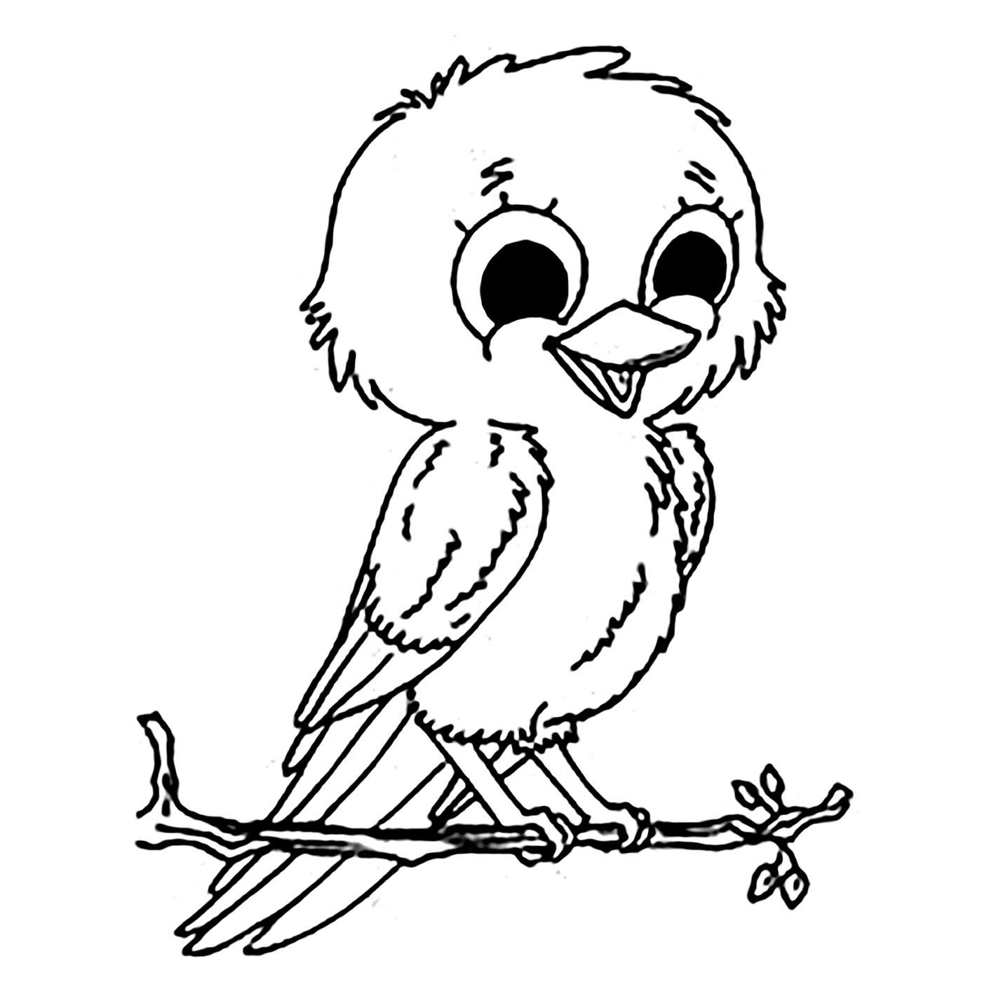 Tranh tô màu con chim xinh