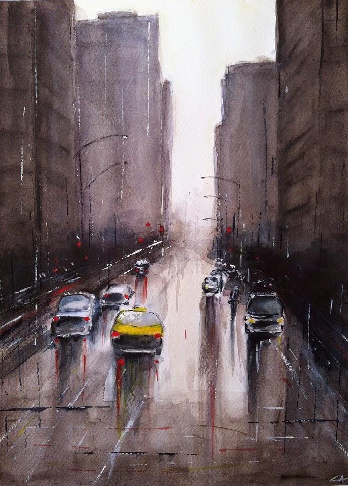 aquarelle rue New York pluie