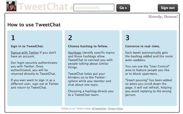 How to use Twitter 3 ways - TweetChat via Funky Junk Interiors