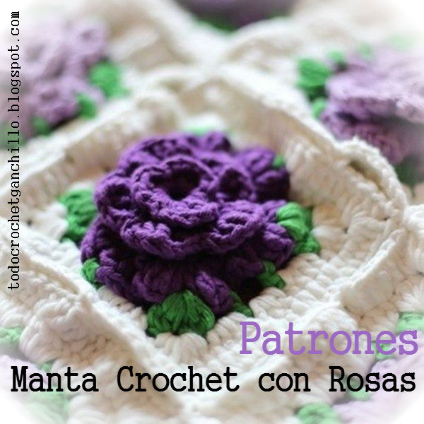 patrones de manta crochet con grannys con centro de flor