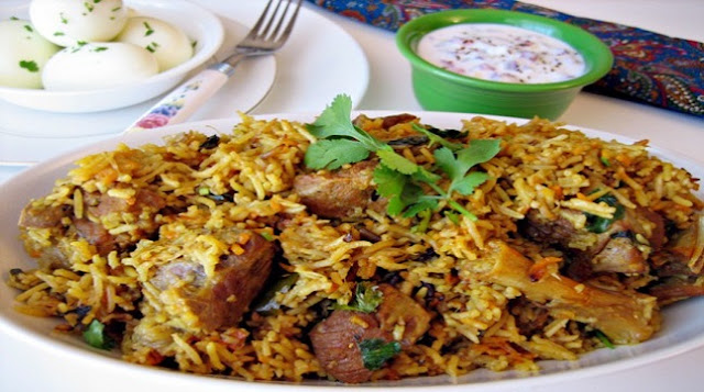 Holiday meat biryani