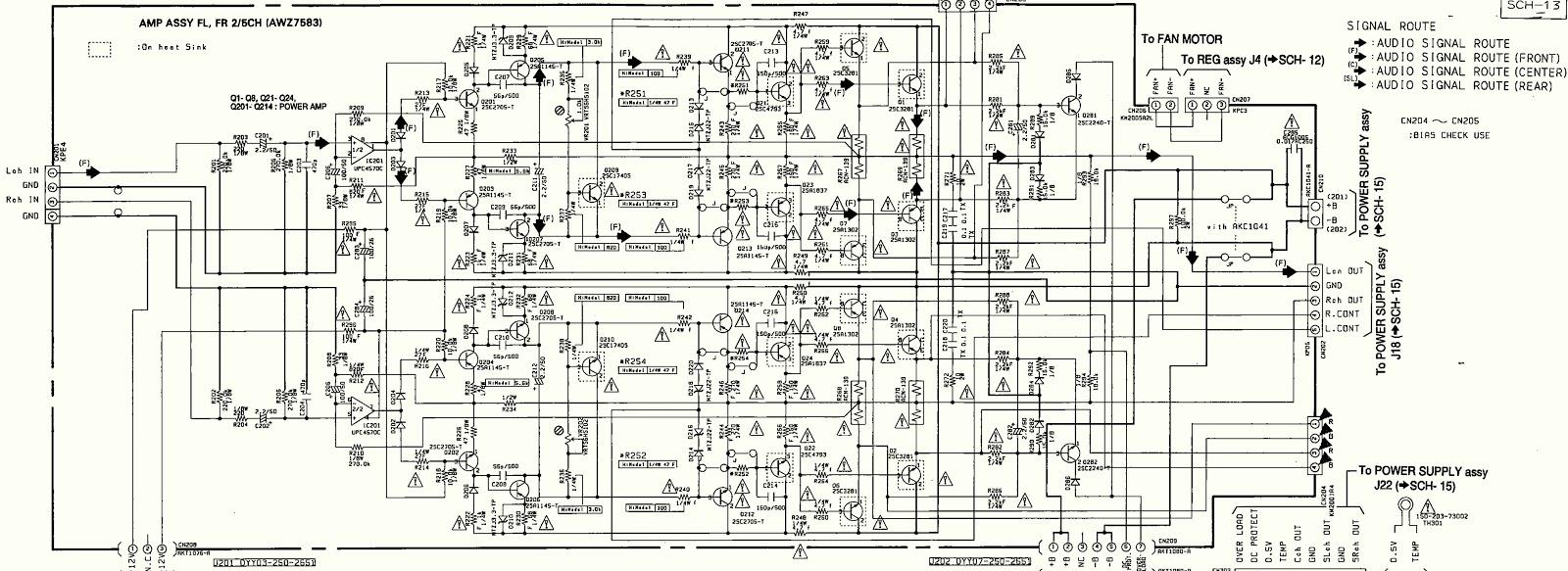 Pioneer VSX D3S - power amplifier section circuit diagram