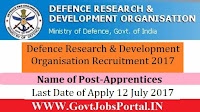 Defence Research and Development Organisation Recruitment 2017– 45 Apprentices