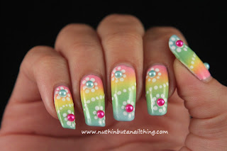 pastel gradient flower nail art