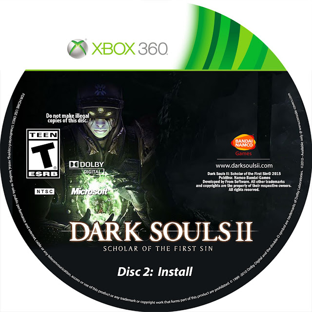 Label Dark Souls 2 Scholar Of The First Sin Disc 2 Install Xbox 360