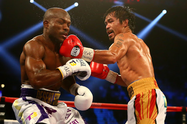 Pacquiao connected with a strong left short to Bradley's chin.
