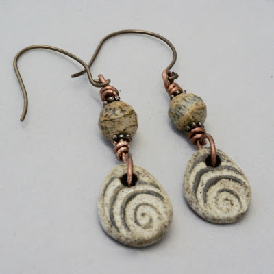 Textured Brown Ceramic Earrings by BayMoonDesign