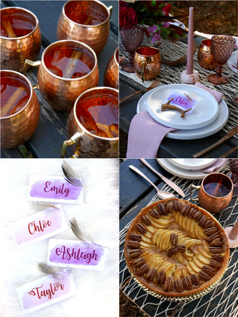 Al Fresco Boho Chic Thanksgiving Table - creative and DIY styling ideas, decor and recipes for a stunning but easy to style, autumn tablescape! by BirdsParty.com @birdsparty