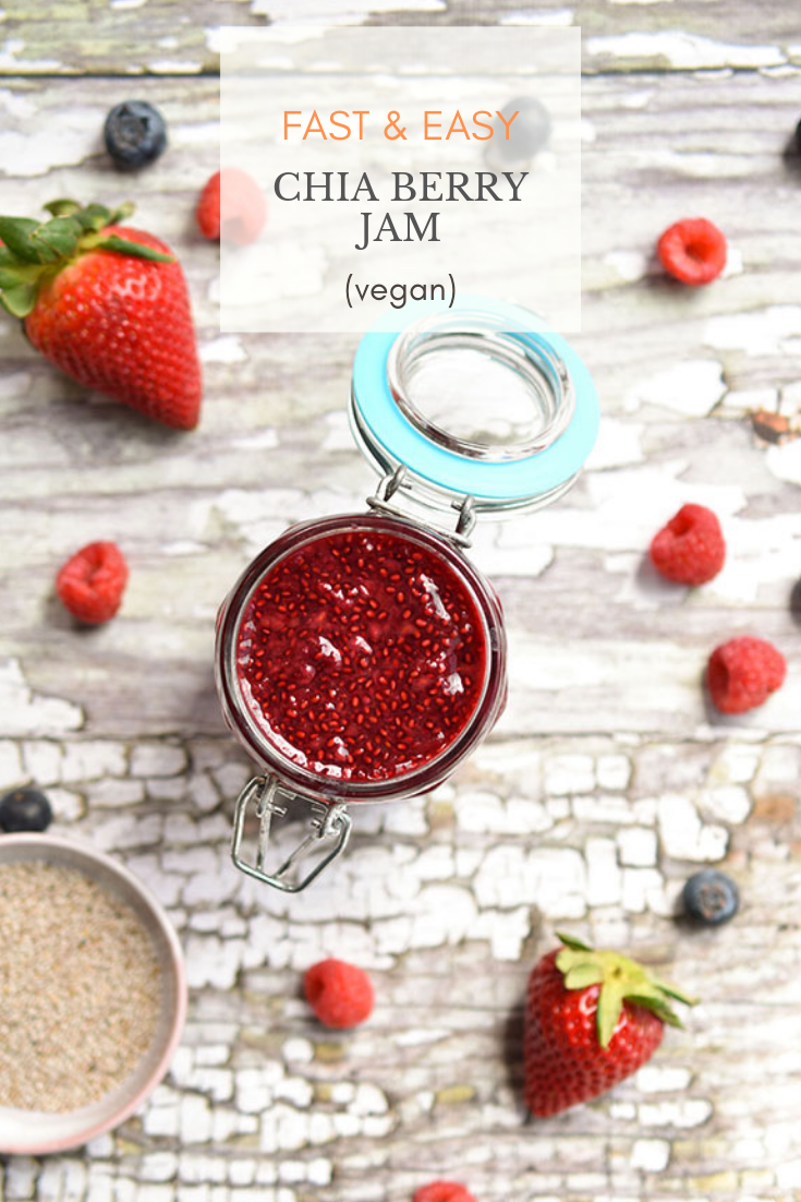 Fast and Easy Chia Berry Jam (vegan) - whip together this jam while making your morning oatmeal! Swirl it into oatmeal or coconut yogurt and spread it onto toast. Great when you only have frozen berries available. #vegan #dairyfree #jam #chiajam #chiaseeds #plantbased #veganrecipes