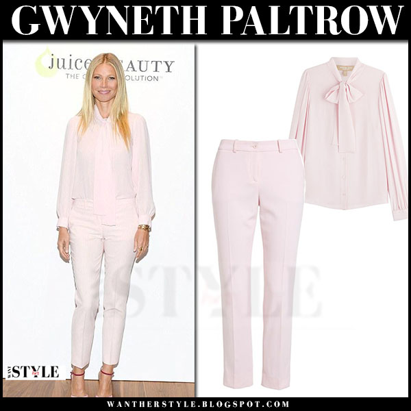Gwyneth Paltrow in pink blouse and pink pants michael kors what she wore