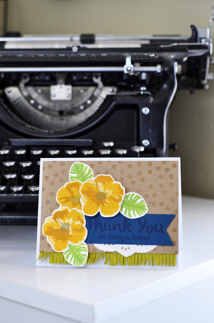Thank You Stamped card by Jen Gallacher. Includes instructional video. #stamping #card