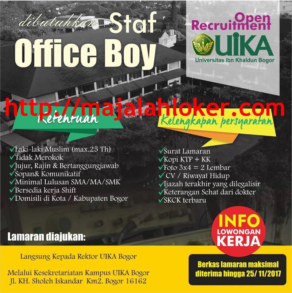 Lowongan Staf Office Boy Universitas Ibn Khaldun (UIKA) Bogor