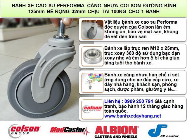 Bánh xe cao su lắp cọc vít M12 x 25mm Colson 5 inch | STO-5854-448 www.banhxeday.xyz