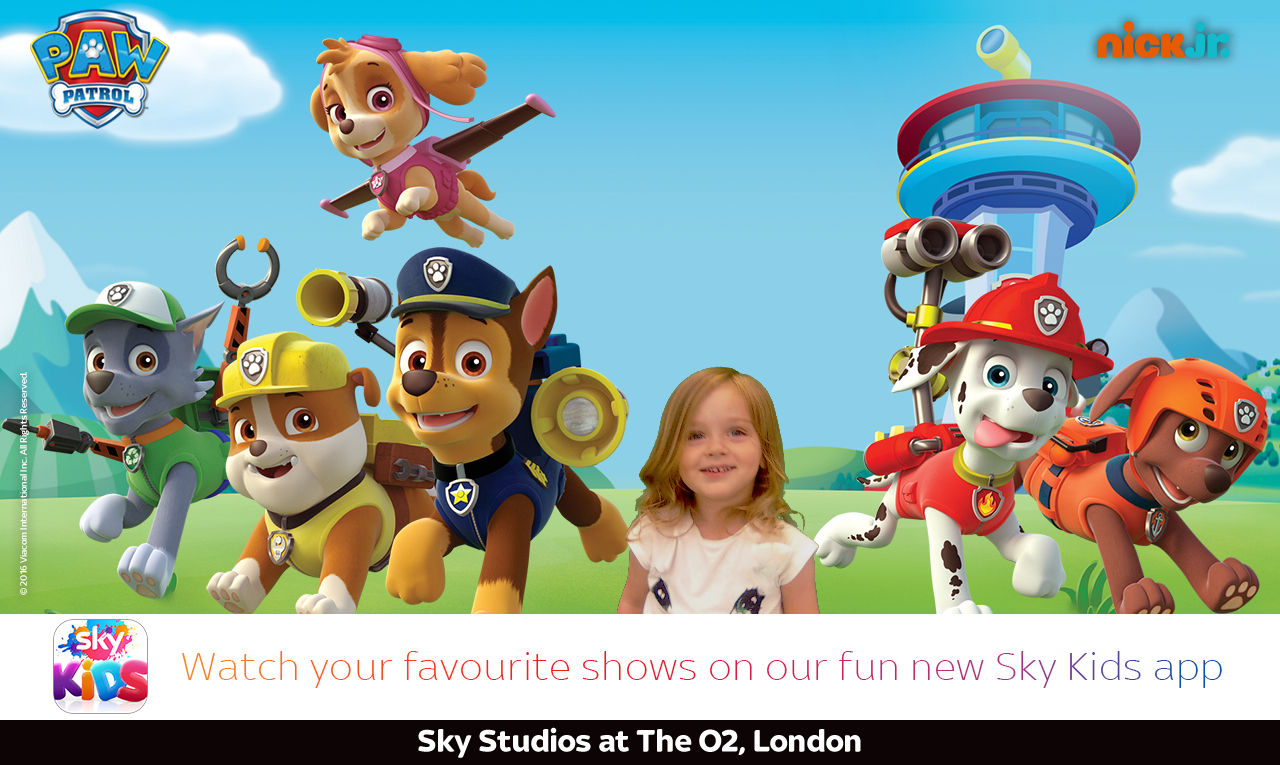 a picture of a toddler superimposed with paw patrol