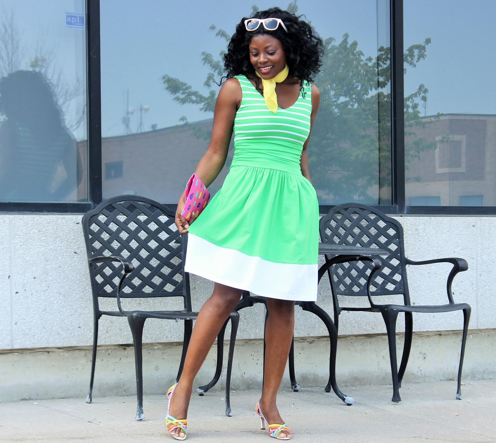 Striped Moxie Dress in Vibrant Green and White by Synergy Organic Clothing