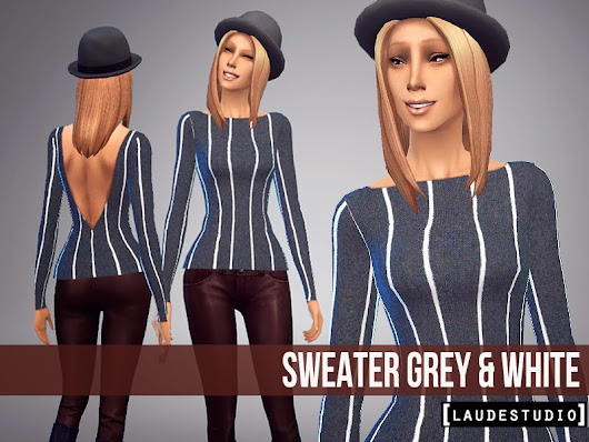 Laude Studio : Sweater Grey & White #SIMS4