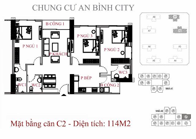 mặt bằng căn hộ c2 - Diện tích 114m2