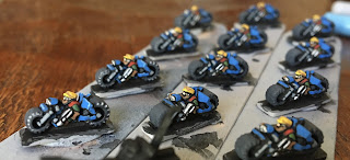 Games Workshop Epic Squats Bikers Edge Highlight with Watercolor Pencils GW Before After