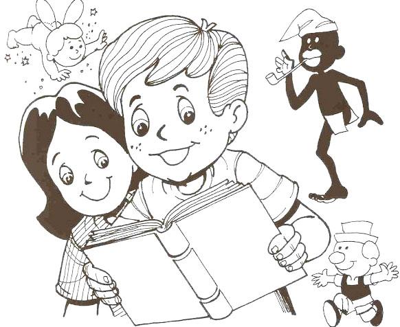 niños leyendo colorear
