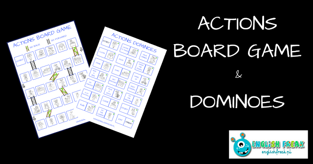Actions board game and dominoes