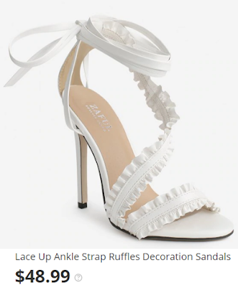 Lace Up Ankle Strap Ruffles Decoration Sandals - White